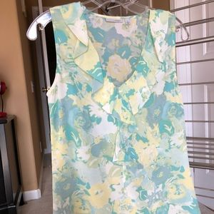 Halogen floral sleeveless top with ruffles, XS